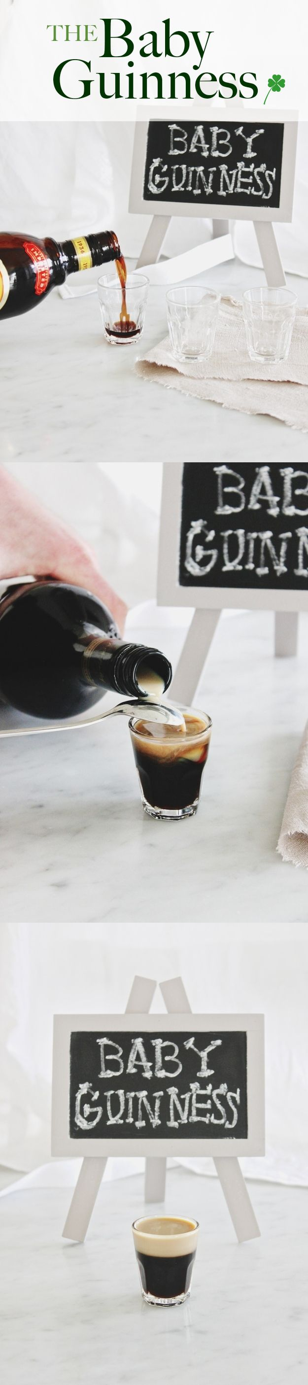 "Baby Guinness!    MAKES 1  INGREDIENTS  2 1/2 oz Kahlua coffee liqueur  1/2 oz Bailey's Irish cream  PREPARATION  Pour Kahlua, almost filling shot glass. Then, carefully and slowly pour Baileys over the back of a spoon. This will give the ""Guinness"" it's ""head."""