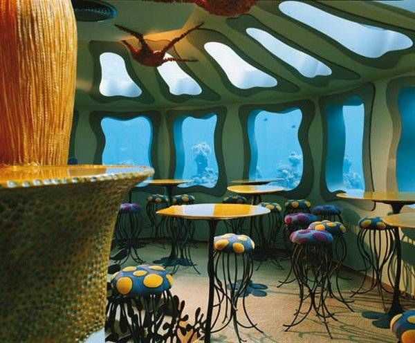 An underwater bar and restaurant, the Red Sea Star located in Eliat, Israel