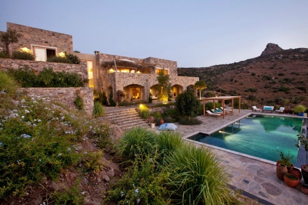 Turkey Residence-01-1 Kind design. Two level stone house burrowed hillside on the Bodrum Peninsula along Aegean Coast of Turkey.