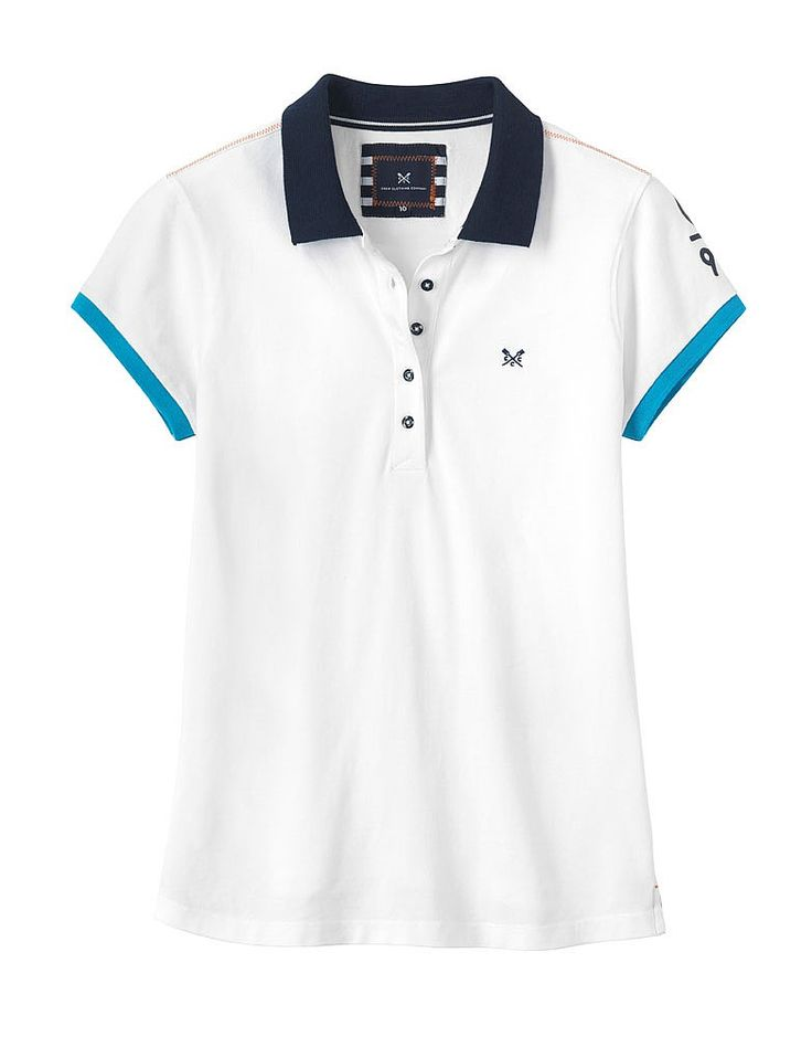 Women's Crew Club Stavely Short Sleeve Polo in Optic White from Crew Clothing