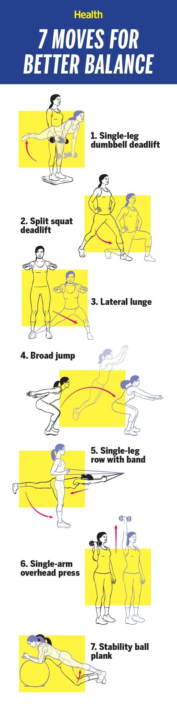 Do two sets of each exercise in sequence three times a week, and soon you're bound to feel more steady on your feet. | Health.com