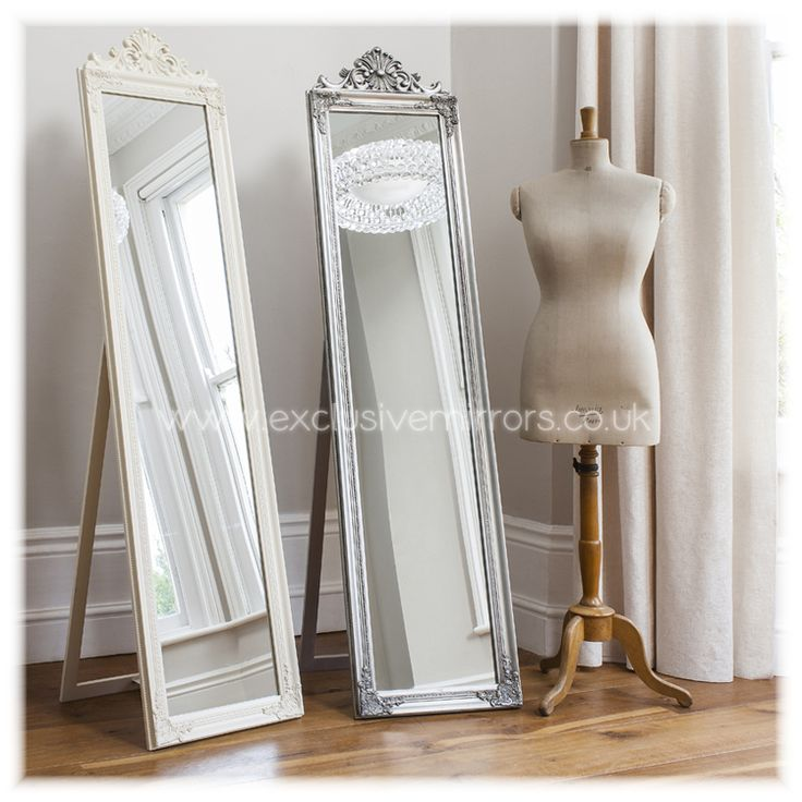 Cheval Shabby Chic Mirror With Ornate Cream Frame