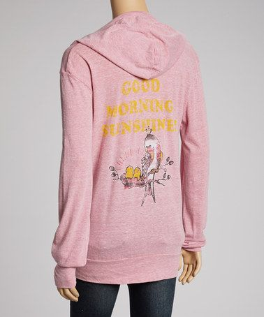 Take a look at this Pink 'Good Morning Sunshine' Maternity Zip-Up Hoodie by Hot Mama Ink on #zulily today!
