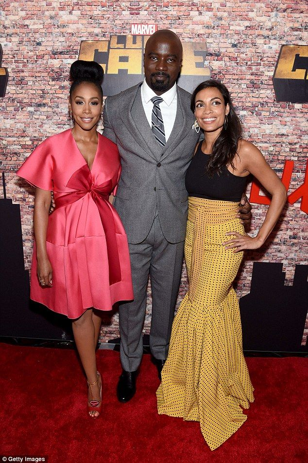 Pretty in pink: Simone Missick, who plays Harlem police detective Misty Knight also turned out at the AMC Magic Johnson Harlem in a cute silky pink cocktail dress