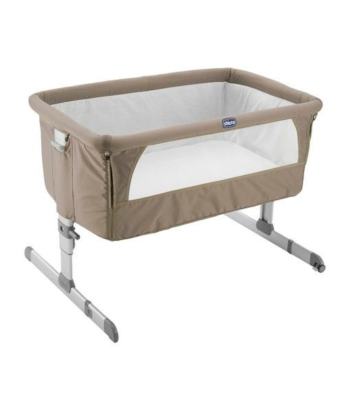 he clever Chicco Next 2 Me Bedside Crib helps to promote side-sleeping, allowing your newborn to sleep close to you for the first six months at your bedside (but not in your bed) making it easy and convenient to breastfeed, cuddle and offer reassurance