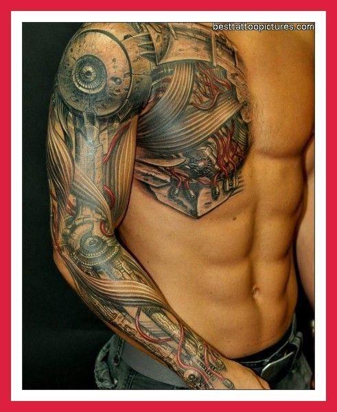 75 Best Biomechanical Tattoo Designs Meanings: Machine. Biochemical Sleeve Tattoo.