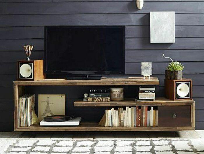 0-meuble-télé-en-bois-massif-tv-console-noir-mur-planchers-gris-commode-en-bois