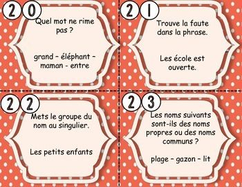 #cartes à tâches #français #premier cycle