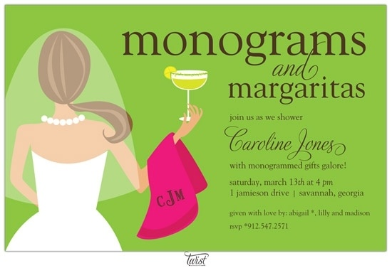 Since Amelia is so into monograms, this invite would be perfect. Especially since her favorite drink is margaritas. I think she'll love this.: Showers, Shower Ideas, Margaritas Invitations, Fun Ideas, Parties Ideas, Bridal Shower Invitations, Parties Invitations, Monograms, Margaritas Bridal