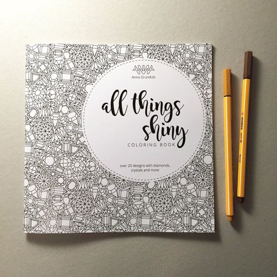 """""""All Things Shiny"""" is an adults coloring book, featuring 25 coloring illustrations with gemstones and diamonds. All illustrations, even the rather abstract ones are inspired by the geometrical forms of crystals. The book also includes illustrations of cats, owl, turtle, rabbit, lizard, flamingo and more. The size of the book is 21x21 cm (approx. 8.5x8.5"""") 