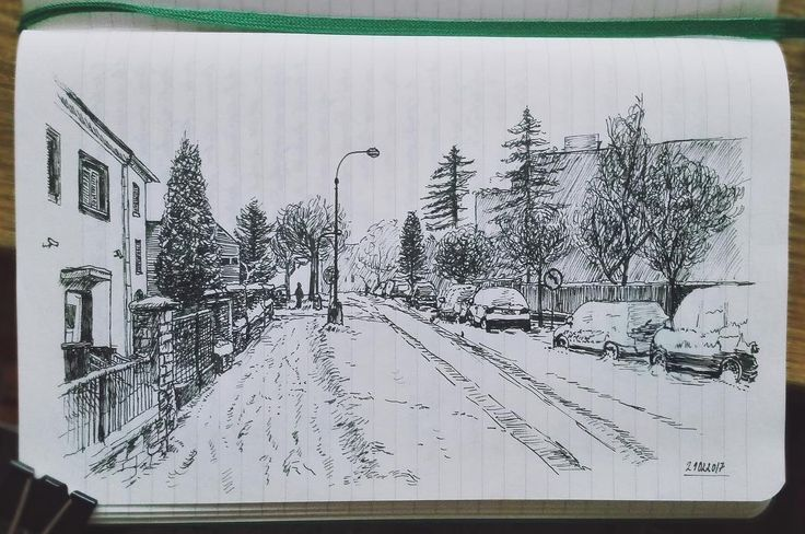 "56 Likes, 5 Comments - @salajova on Instagram: ""#doodle #sketch #ink #art #travel #street #calming #lecture #winter #landscape #bored #student…"""