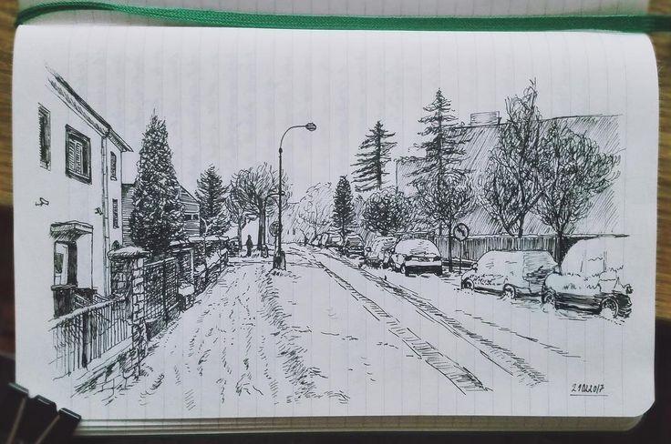 "56 Likes, 5 Comments - @salajova on Instagram: ""#doodle #sketch #ink #art #travel #street #calming #lecture #winter #landscape #bored #student…"""