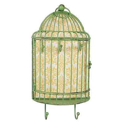BIRDCAGE SHELF UNIT WITH KEYS HANDLE HOOKS  GREEN MINT AQUA YELLOW DOOR IRON  AU $19.90