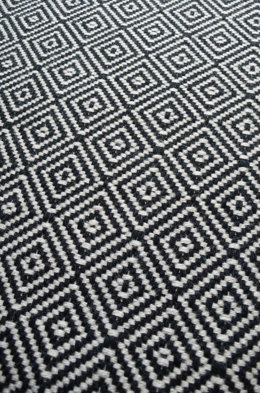 Diamond Flatweave Black & White Stair Runner by Hartley and Tissier
