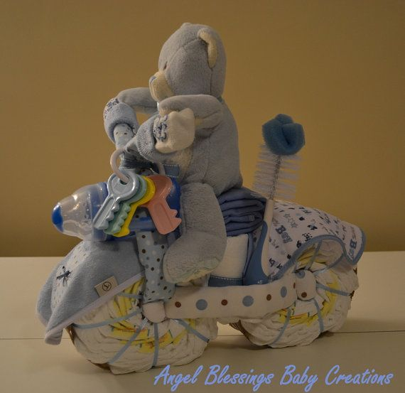 Diaper Motorcycle Teddy Bear Baby Shower Centerpiece Baby