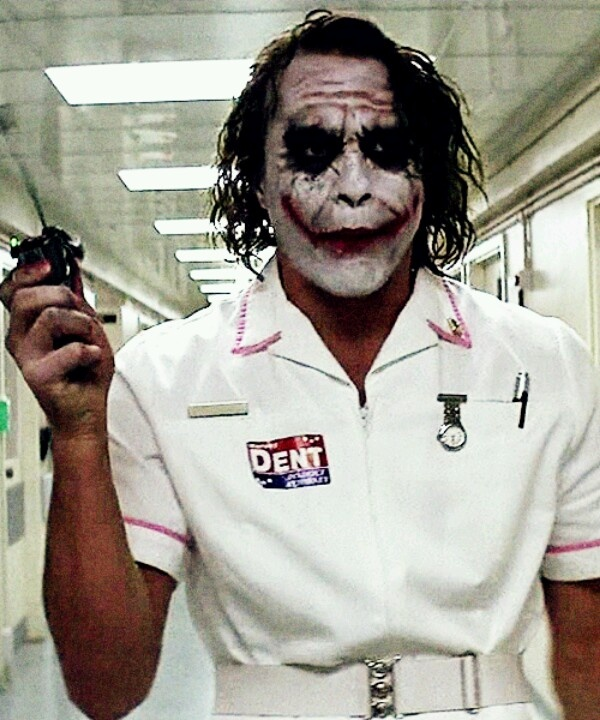 Boom. The joker in the dark knight nurse costume