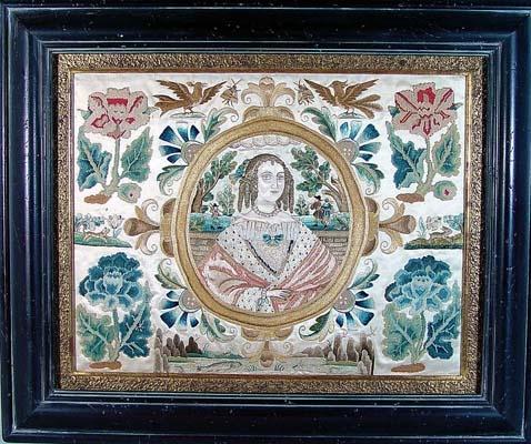 A Fine English 17th Century Silkwork Picture of Queen Henrietta,    Circa 1640-60.: Sampler