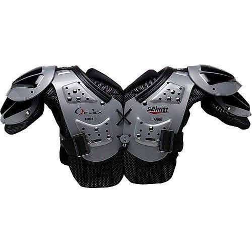 Schutt Youth Flex All Purpose Youth Shoulder Pad (X-Small) by Schutt. $32.00. The Youth Flex is a lightweight design with an economical price that still offers the strength and protection of AiR Flex technology, including raised corrugations.  Arch features 7mm vapor holes, maximizing ventilation and air flow next to the body. Treated with AEGIS Anti-microbial and has a 3-point belt system.