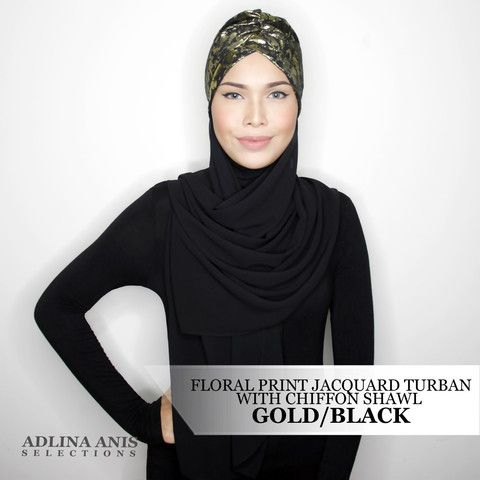 FLORAL PRINT JACQUARD TURBAN WITH CHIFFON SHAWL - GOLD/BLACK  $65.00 SGD  Limited Edition Slip-on Turban with attached shawl Size: Fits small to medium Note: Not advisable to use with a ninja  You'll find only the best hijabs / tudungs / scarves that are shipped worldwide.  Click through to the website to find out more.