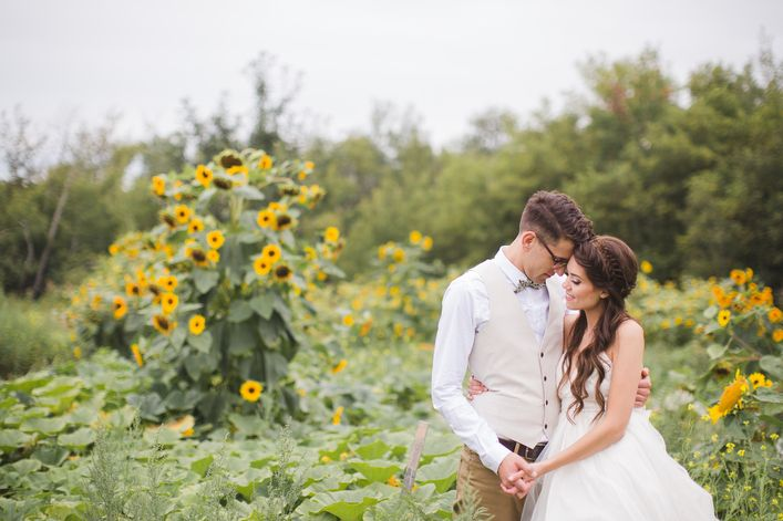Christine   Adam: Fancy Farm Wedding. Bride & Groom, Wedding Flowers, Sunflowers