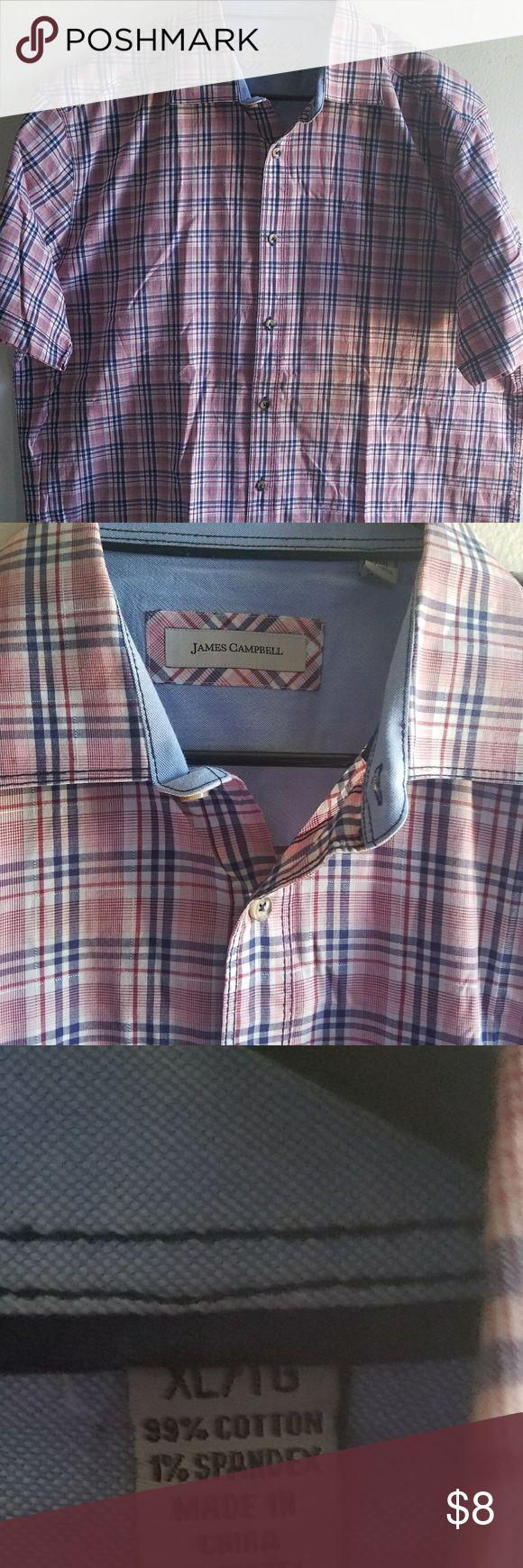 James Campbell Short Sleeve Checker Button Down Cross plaid Dress Shirt. James Campbell Shirts Casual Button Down Shirts
