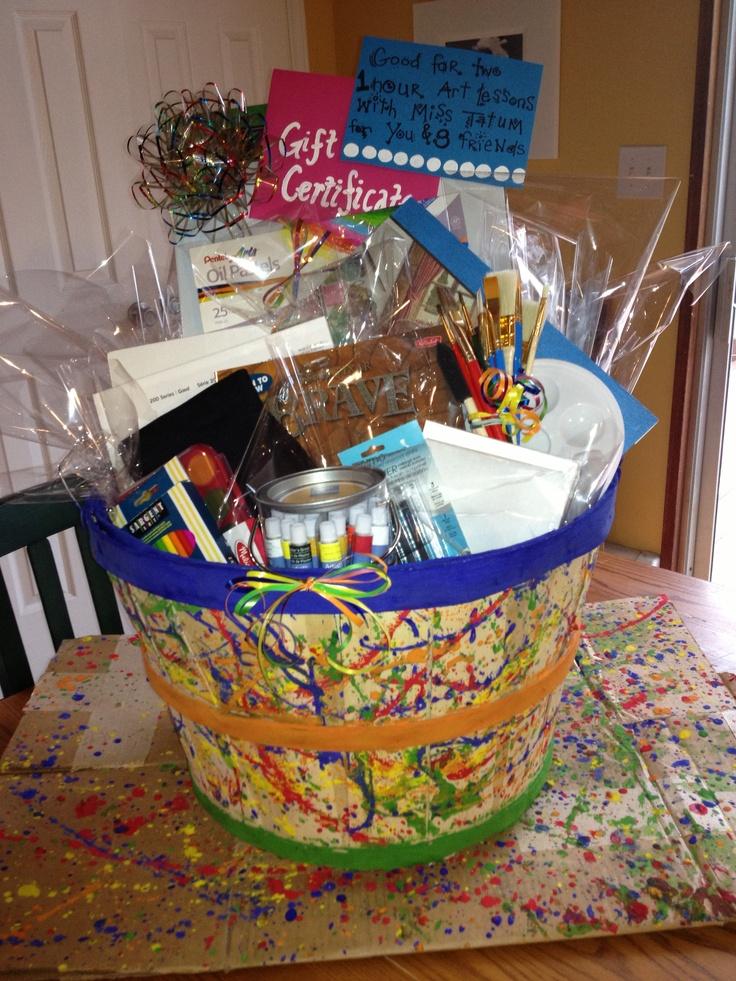 Paint Basket Art Lessons : Best ideas about school auction baskets on