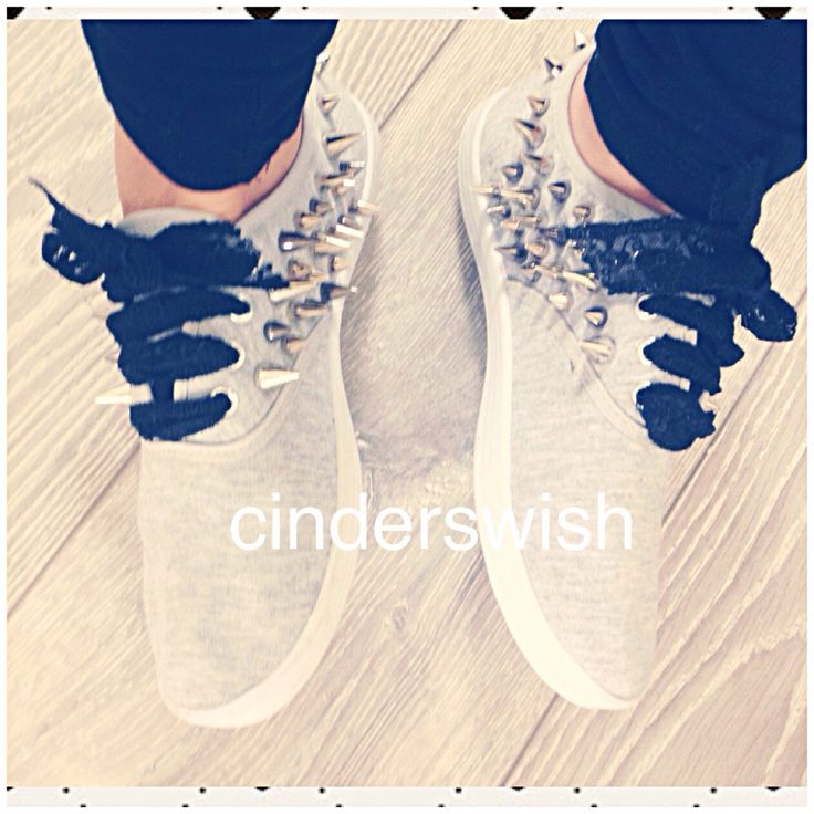 Grey Spiked plimsolls / Spiked sneakers / womens plimsolls / skull shoes / skull plimsols / grey shoes / lace ribbon by CindersWish on Etsy https://www.etsy.com/listing/252281956/grey-spiked-plimsolls-spiked-sneakers