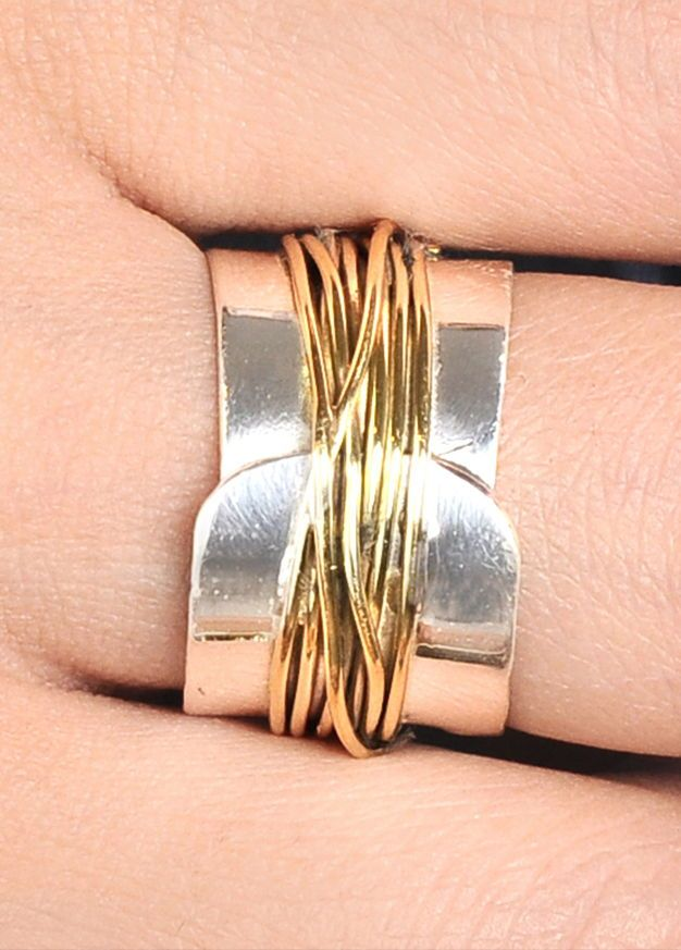 Solid 925 Sterling Silver Spinner Ring Golden Hammered Wide Band Boho Size Fashion Jewelry