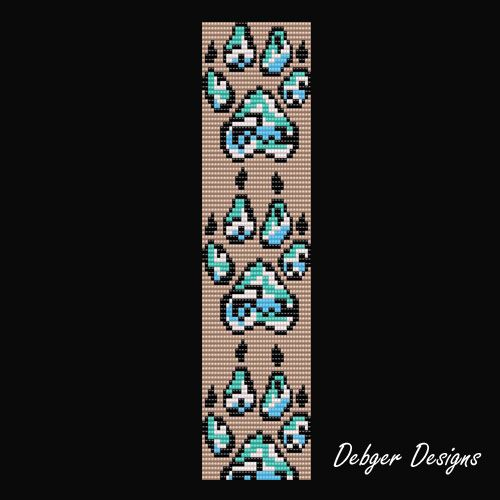 Wolf Tracks - Loom Bracelet Cuff Pattern | DebgerDesigns ...