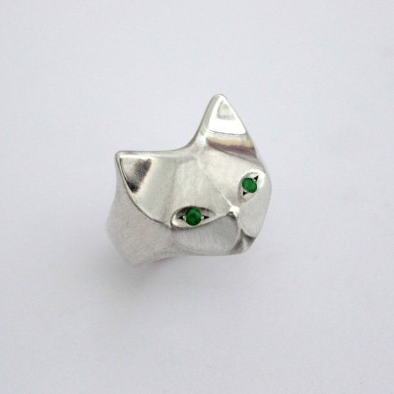Cat Sterling Silver Ring Egyptian Cat Geometric by ElinaGleizer