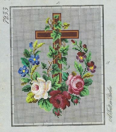 A Pretty Religious Berlin WoolWork Pattern Produced By A Todt In Berlin