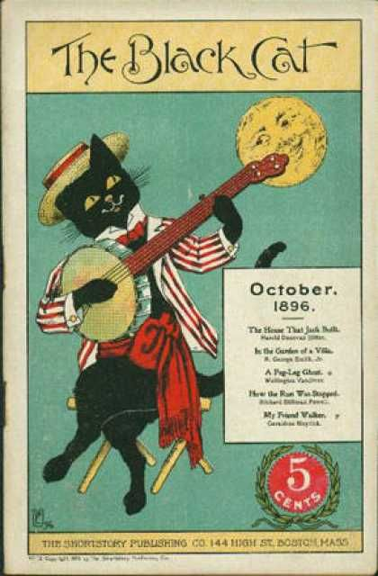 Black Cat (Magazine) - 10/1896 - Banjo playing cat with moon