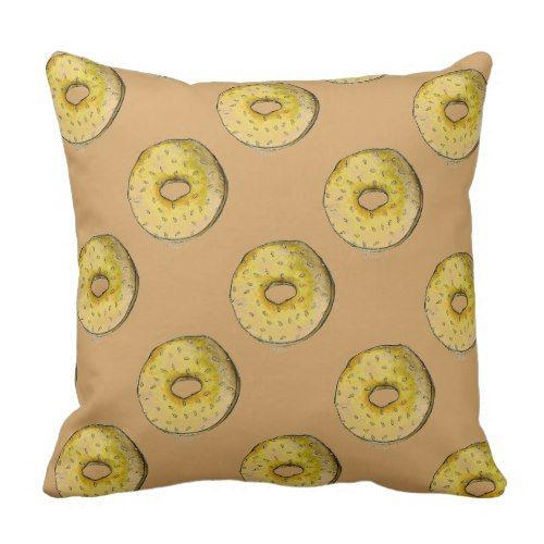 Watercolor Sesame Seed Bagel Bagels Foodie Pillow
