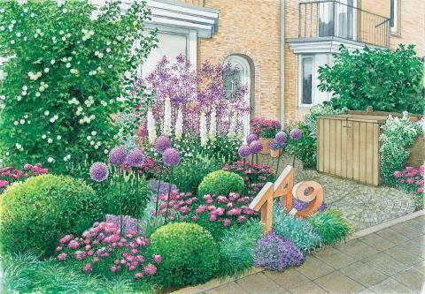 Vorgarten mit Hausnummer