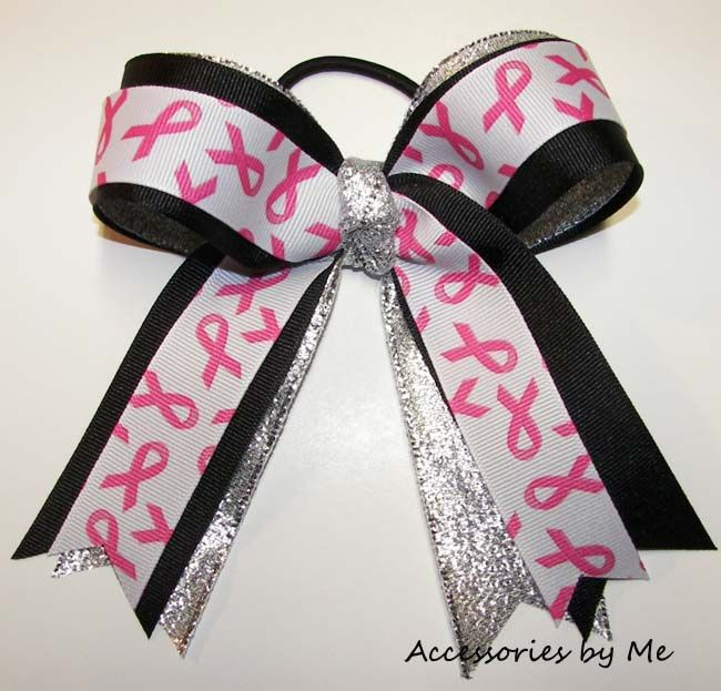 Breast Cancer Awareness Fundraiser Cheer Hair Bow $12.00 each Purchase 12 or more within Same Shipment $7.00 each