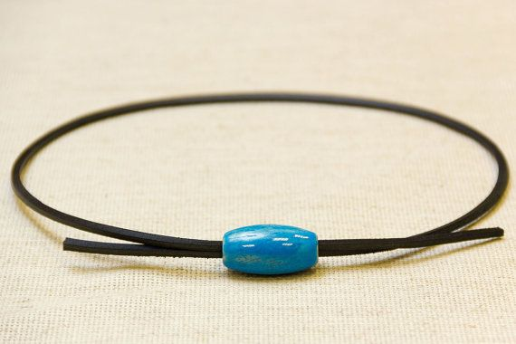 Necklace with one horizontal ceramic bead by BohoBlossomCrafts
