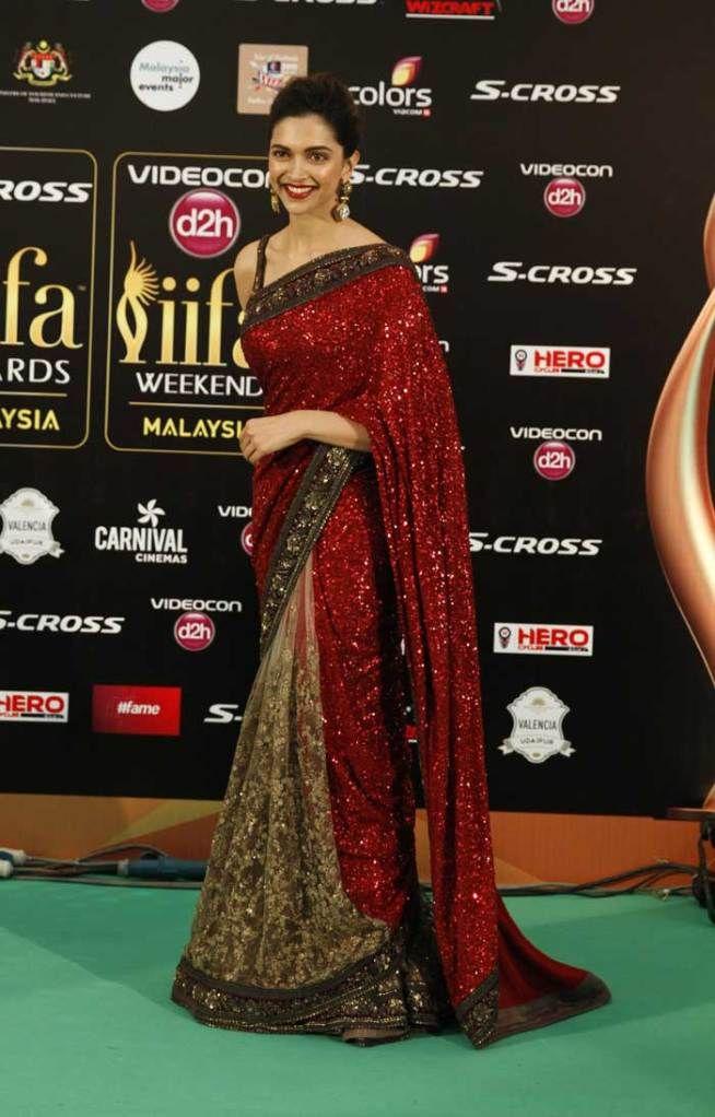 Deepika Padukone at the green carpet of #IIFAAwards2015 in Malaysia. #Bollywood #Fashion #Style #Beauty