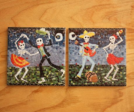 The Merry Party is a set of 2 coaster tiles featuring a pair of dancers and a dance and guitarist. They come in a Juan is Dead gift box so make a great present.  Original Juan is Dead mosaic design fired onto ceramic gloss tile. All tiles high fired for permanent decoration, ideal for indoor/outdoor use. Can be used as a tile, coaster, candle/heat plate or simply as an ornamental piece. Standard 10 x 10 cm so can be incorporated into tile designs.