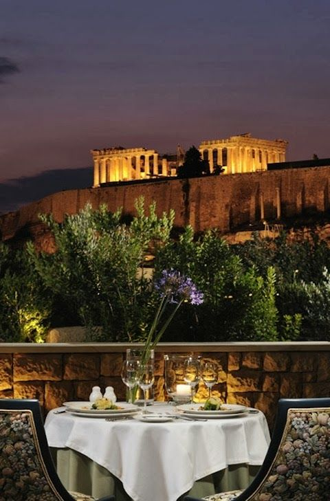 Dinner for two - with a view! Athens, Greece. @jen McLeod Savvy SEO Agency www.SociallySavvySEO.com