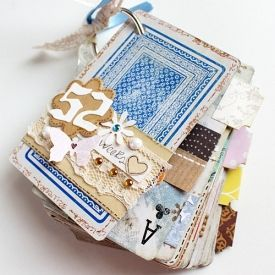 A card deck turns into a mini album/journal: one card for each week of the year!