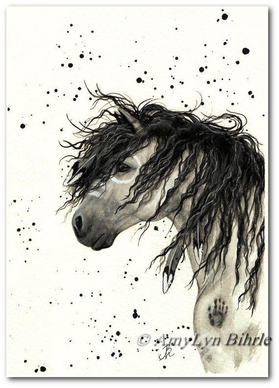 Majestätische Pferd - grau Kriegsbemalung Native Federn - Fine Art Prints von Bihrle mm44