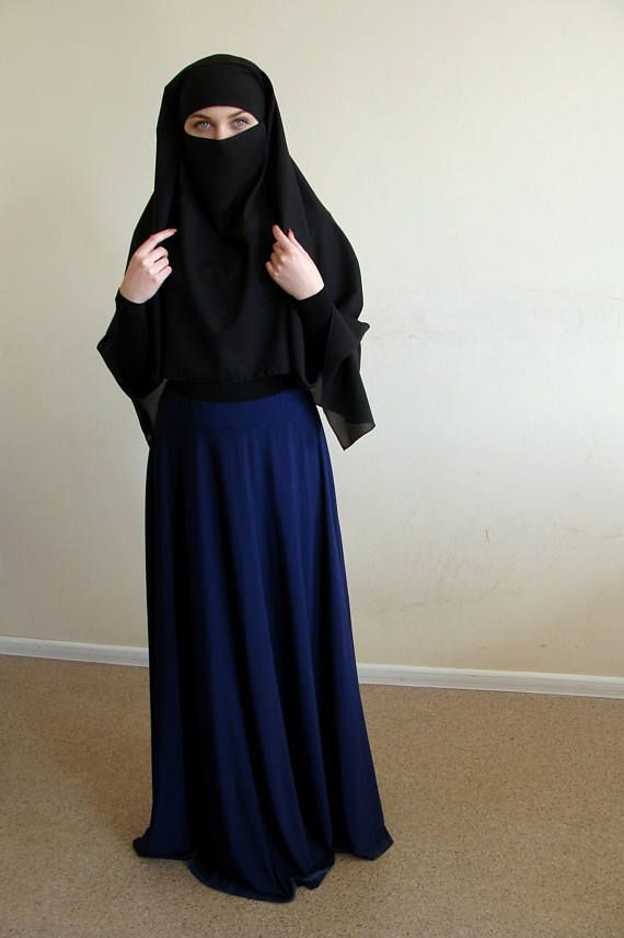 The traditional black burka, but a beautiful elegant design whith voluminous draping. A wide headscarf which is tied like a bandana. The niqab is a traditional Arab headdress that covers the face and leaves open only the eyes. It is fully enclosed niqab! We care about you to be religious and beautiful. I can make in any color to any of your outfit, also we can make it longer and shorter if you want. I would be glad if you will cover our hijab ) Material crepe chiffon FREE SIZE! Length from…