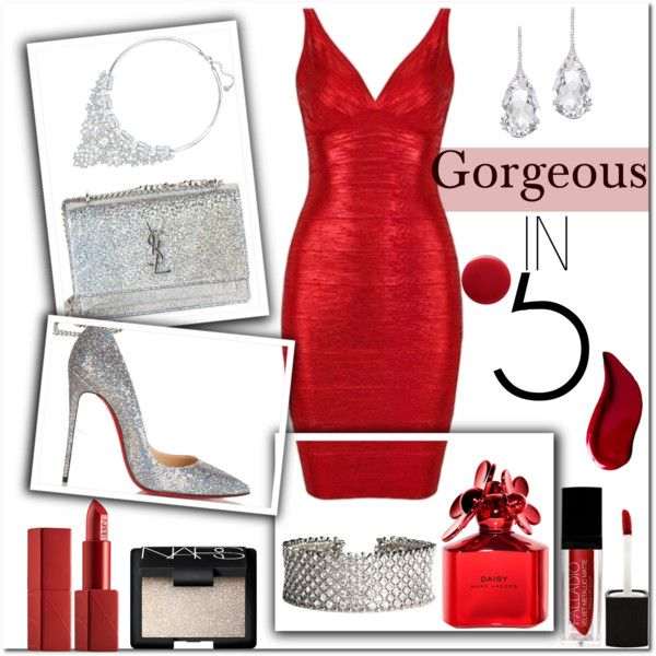 Red dress for the weekend by pureglamchic on Polyvore featuring мода, Christian Louboutin, Yves Saint Laurent, Swarovski, Plukka, NARS Cosmetics, Kat Von D, Marc Jacobs and Oribe