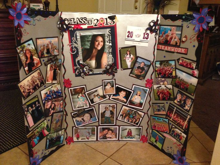 High school senior memory board. The center has from baby pics to some with her siblings/ family. Left has senior activities and special events like prom. Right side has her softball team's most memorable events.