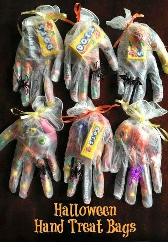 LOVE THIS!! Halloween Treats in thin doctors' gloves!