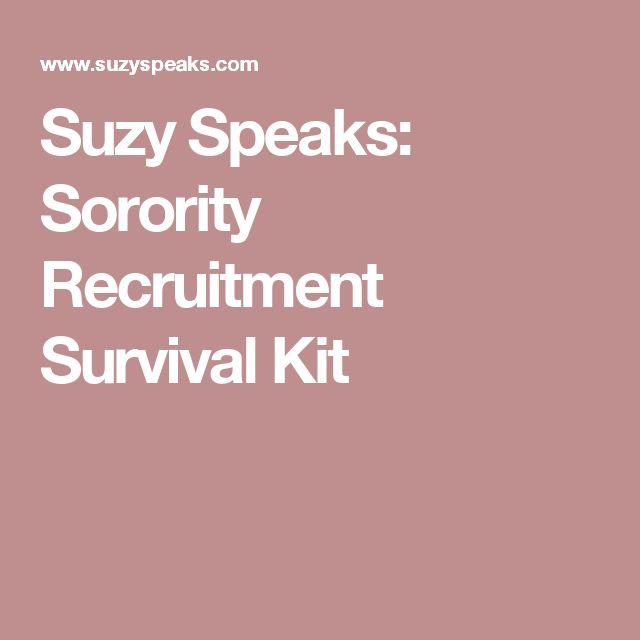 Suzy Speaks: Sorority Recruitment Survival Kit