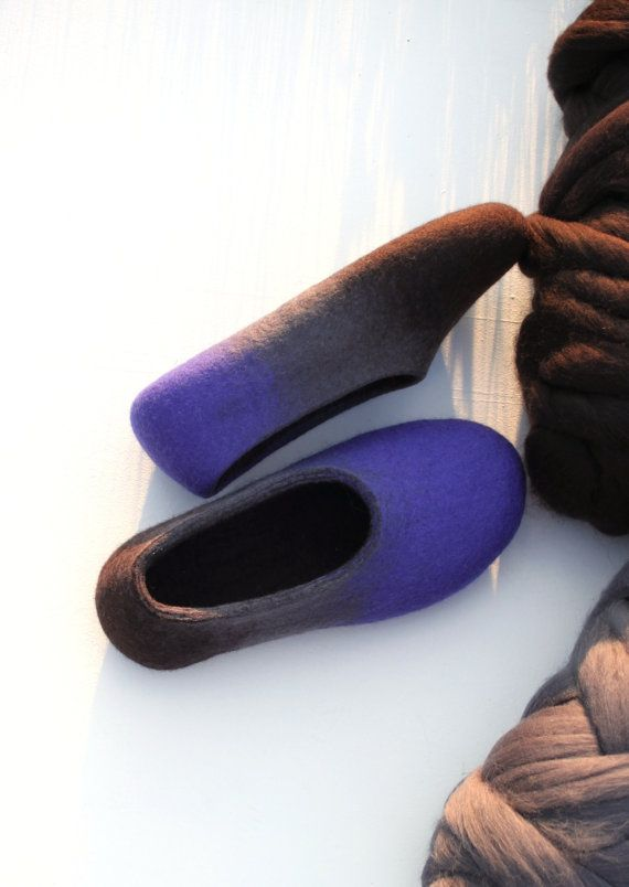 Felted slippers for woman - Australian merino wool slippers - wool house shoes - eco friendly - made to order - blue grey brown