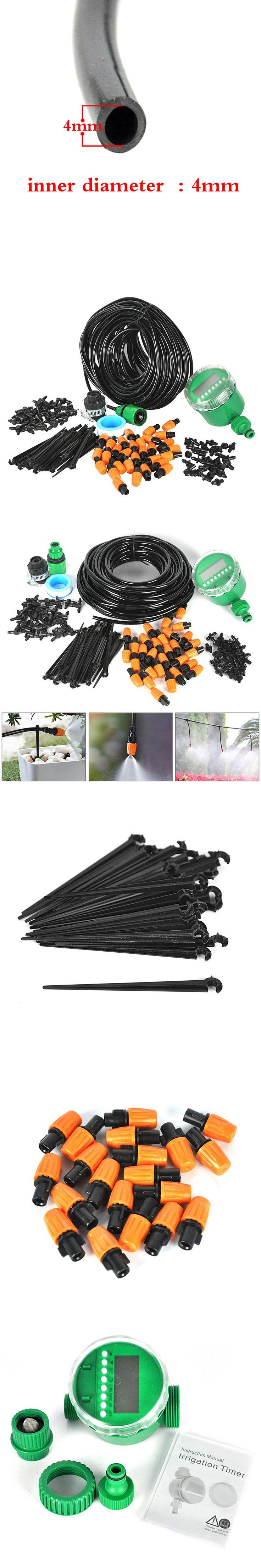 25M Automatic Micro Drip Irrigation System With Water Timer Plant Watering Garden Hose Kits Adjustable Dripper Controller Suits