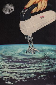 """Stirring Up a Storm"" collage by Joe Webb (using NASA's Apollo 9 image of a cyclonic storm system, Hawai'i)"