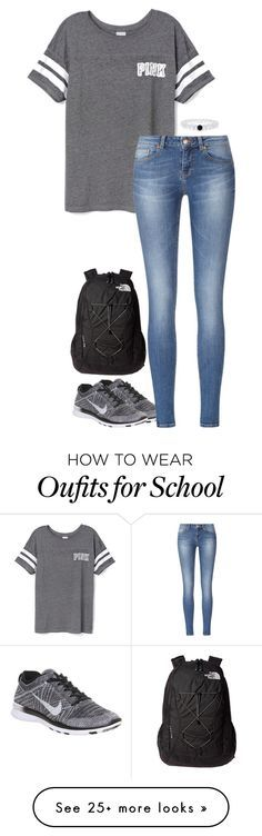 """school today"" by sassy-and-southern on Polyvore featuring moda, Victoria's Secret PINK, NIKE y The North Face"